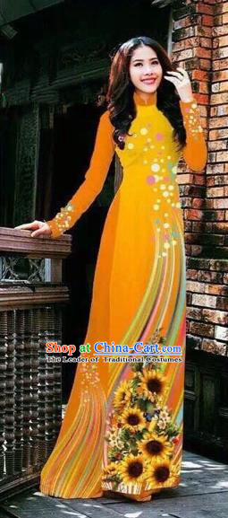 Traditional Top Grade Asian Vietnamese Costumes Handmade Dance Dress, Vietnam National Female Printing Orange Ao Dai Dress Cheongsam Clothing for Women