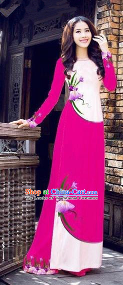 Traditional Top Grade Asian Vietnamese Costumes Handmade Dance Dress, Vietnam National Female Printing Flowers Rose Ao Dai Dress Cheongsam Clothing for Women