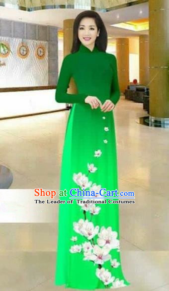 Traditional Top Grade Asian Vietnamese Costumes Dance Dress, Vietnam National Female Printing Flowers Green Ao Dai Dress Stand Collar Cheongsam Clothing for Women