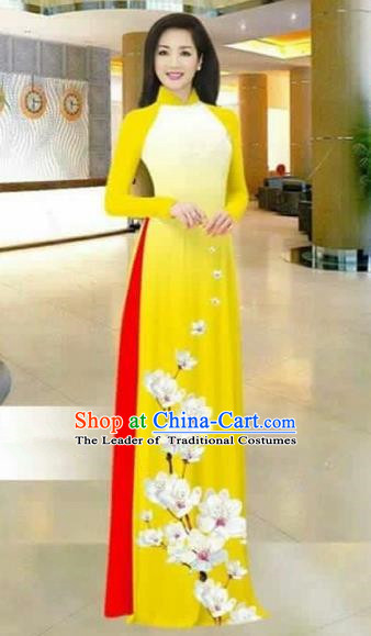 Traditional Top Grade Asian Vietnamese Costumes Dance Dress, Vietnam National Female Printing Flowers Yellow Ao Dai Dress Stand Collar Cheongsam Clothing for Women