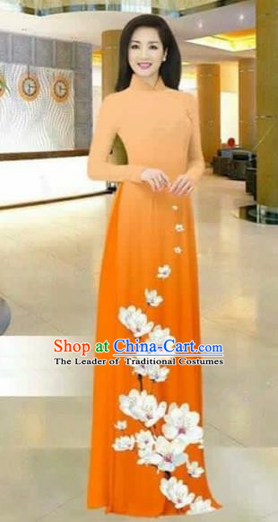 Traditional Top Grade Asian Vietnamese Costumes Dance Dress, Vietnam National Female Printing Flowers Orange Ao Dai Dress Stand Collar Cheongsam Clothing for Women