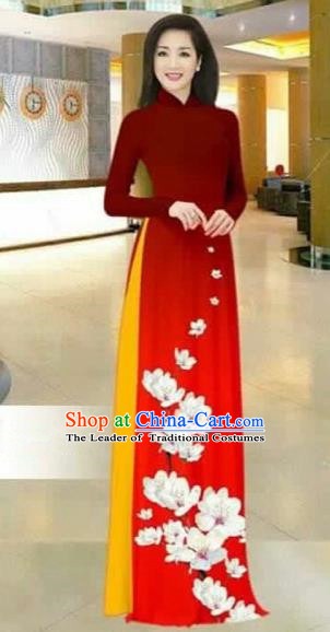 Traditional Top Grade Asian Vietnamese Costumes Dance Dress, Vietnam National Female Printing Flowers Red Ao Dai Dress Stand Collar Cheongsam Clothing for Women