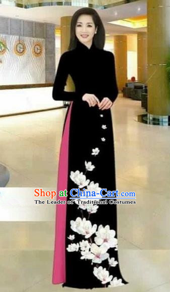 Traditional Top Grade Asian Vietnamese Costumes Dance Dress, Vietnam National Female Printing Flowers Black Ao Dai Dress Stand Collar Cheongsam Clothing for Women