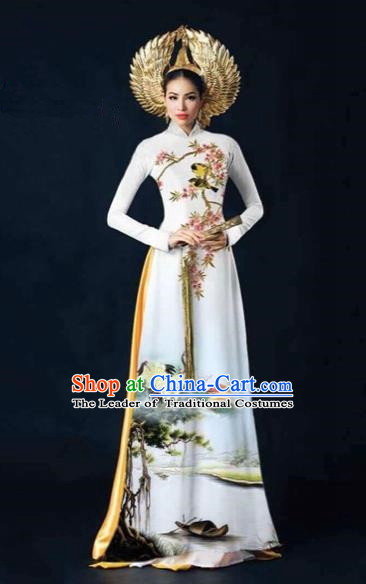 Traditional Top Grade Asian Vietnamese Costumes Dance Dress and Pants, Vietnam National Female Printing Crane White Ao Dai Dress Cheongsam Clothing Complete Set for Women
