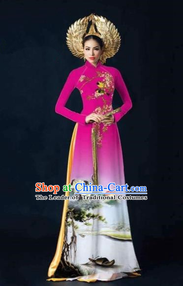 Traditional Top Grade Asian Vietnamese Costumes Dance Dress and Pants, Vietnam National Female Printing Crane Rose Ao Dai Dress Cheongsam Clothing Complete Set for Women