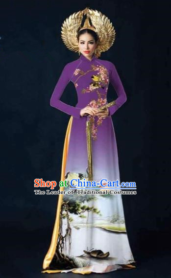 Traditional Top Grade Asian Vietnamese Costumes Dance Dress and Pants, Vietnam National Female Printing Crane Purple Ao Dai Dress Cheongsam Clothing Complete Set for Women
