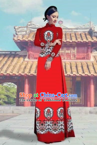 Traditional Top Grade Asian Vietnamese Costumes Dance Dress and Pants, Vietnam National Female Printing Red Ao Dai Dress Cheongsam Clothing Complete Set for Women