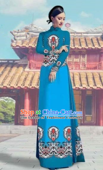 Traditional Top Grade Asian Vietnamese Costumes Dance Dress and Pants, Vietnam National Female Printing Blue Ao Dai Dress Cheongsam Clothing Complete Set for Women