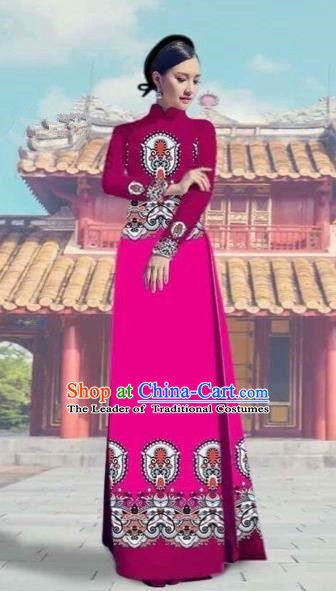 Traditional Top Grade Asian Vietnamese Costumes Dance Dress and Pants, Vietnam National Female Printing Rose Ao Dai Dress Cheongsam Clothing Complete Set for Women