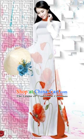 Traditional Top Grade Asian Vietnamese Costumes Dance Dress, Vietnam National Female Painting Red Flower Ao Dai Dress Cheongsam Clothing for Women
