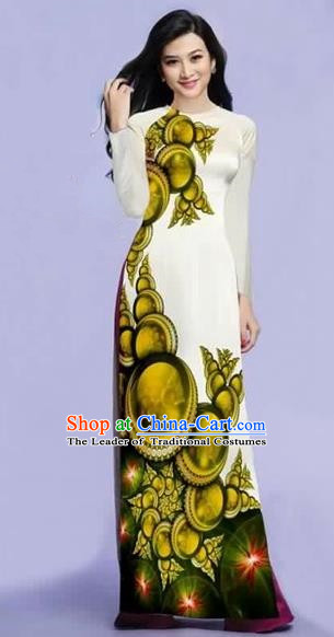 Traditional Top Grade Asian Vietnamese Costumes Dance Dress, Vietnam National Female Olive Green Printing Ao Dai Dress Cheongsam Clothing for Women