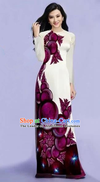 Traditional Top Grade Asian Vietnamese Costumes Dance Dress, Vietnam National Female Purple Printing Ao Dai Dress Cheongsam Clothing for Women