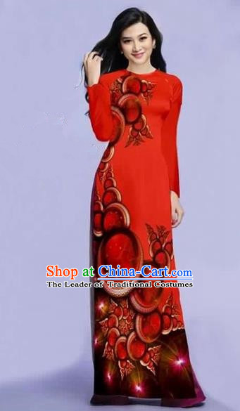 Traditional Top Grade Asian Vietnamese Costumes Dance Dress, Vietnam National Female Printing Red Ao Dai Dress Cheongsam Clothing for Women