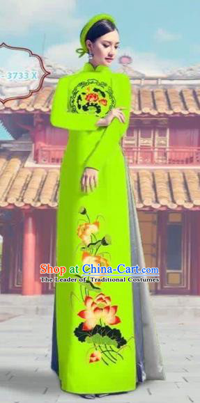 Traditional Top Grade Asian Vietnamese Costumes Dance Dress, Vietnam National Female Printing Lotus Bright Green Ao Dai Dress Cheongsam Clothing Complete Set for Women