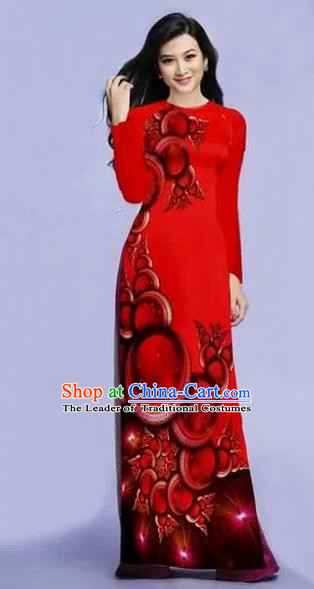 Traditional Top Grade Asian Vietnamese Costumes Dance Dress, Vietnam National Female Printing Dark Red Ao Dai Dress Cheongsam Clothing for Women