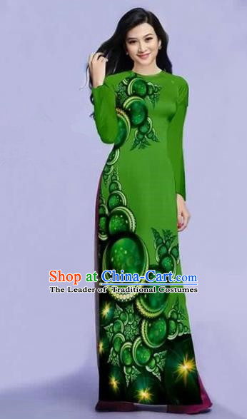 Traditional Top Grade Asian Vietnamese Costumes Dance Dress, Vietnam National Female Printing Green Ao Dai Dress Cheongsam Clothing for Women
