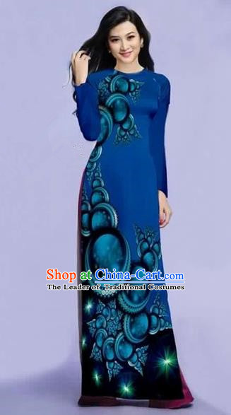 Traditional Top Grade Asian Vietnamese Costumes Dance Dress, Vietnam National Female Printing Peacock Blue Ao Dai Dress Cheongsam Clothing for Women