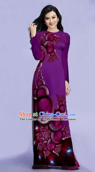 Traditional Top Grade Asian Vietnamese Costumes Dance Dress, Vietnam National Female Printing Purple Ao Dai Dress Cheongsam Clothing for Women