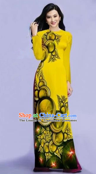 Traditional Top Grade Asian Vietnamese Costumes Dance Dress, Vietnam National Female Printing Yellow Ao Dai Dress Cheongsam Clothing for Women