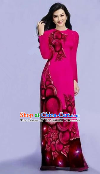 Traditional Top Grade Asian Vietnamese Costumes Dance Dress, Vietnam National Female Printing Rose Ao Dai Dress Cheongsam Clothing for Women