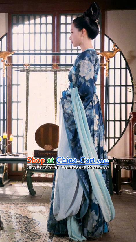 Traditional Chinese Ancient Tang Dynasty Imperial Consort Costumes and Handmade Headpiece Complete Set, China The Glory of Tang Dynasty Ancient Senior Concubine Dress Clothing for Women