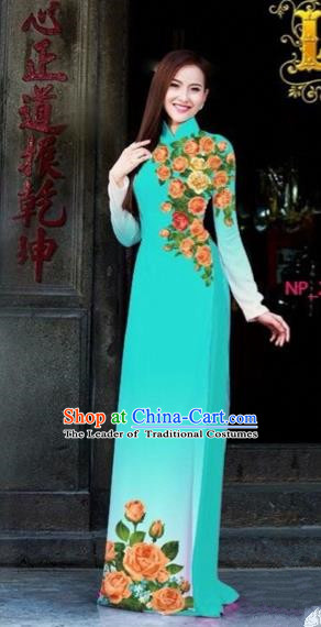 Traditional Top Grade Asian Vietnamese Costumes Dance Dress, Vietnam National Female Printing Flowers Blue Ao Dai Dress Cheongsam Clothing for Women