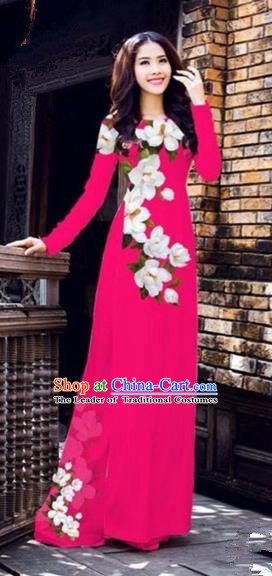 Traditional Top Grade Asian Vietnamese Costumes Dance Dress, Vietnam National Female Printing Flowers Rose Ao Dai Dress Cheongsam Clothing for Women
