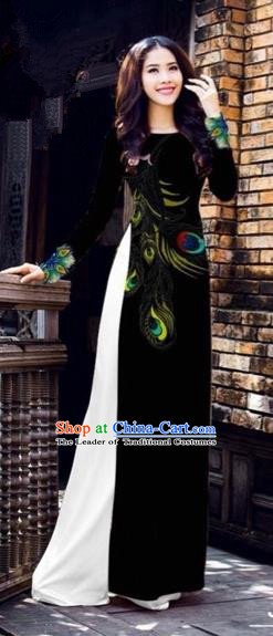 Traditional Top Grade Asian Vietnamese Costumes Dance Dress, Vietnam National Female Printing Feather Black Ao Dai Dress Cheongsam Clothing for Women