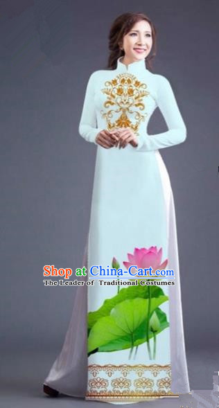 Traditional Top Grade Asian Vietnamese Costumes Dance Dress, Vietnam National Female Printing Lotus Flowers White Ao Dai Dress Cheongsam Clothing for Women
