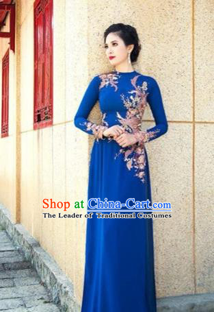 Traditional Top Grade Asian Vietnamese Costumes Dance Dress, Vietnam National Female Embroidering Flower Beads Ao Dai Dress Cheongsam Clothing for Women