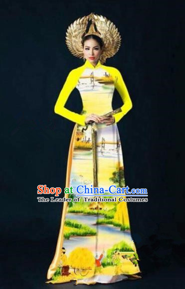 Traditional Top Grade Asian Vietnamese Costumes Dance Dress, Vietnam National Women Ao Dai Dress Printing Landscape Yellow Cheongsam Clothing
