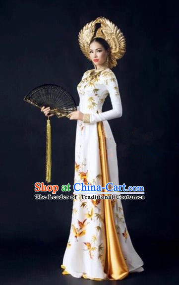 Traditional Top Grade Asian Vietnamese Costumes Dance Dress, Vietnam National Women Ao Dai Dress Printing White Cheongsam Clothing