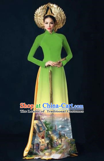 Traditional Top Grade Asian Vietnamese Costumes Dance Dress, Vietnam National Women Ao Dai Dress Printing View Green Cheongsam Clothing
