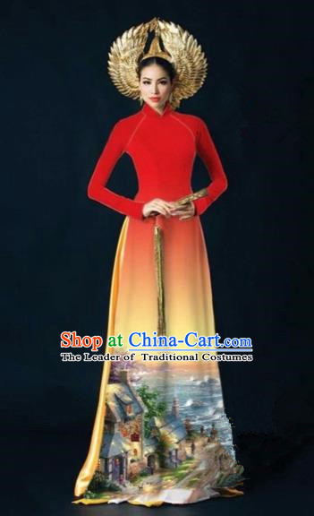 Traditional Top Grade Asian Vietnamese Costumes Dance Dress, Vietnam National Women Ao Dai Dress Printing View Red Cheongsam Clothing