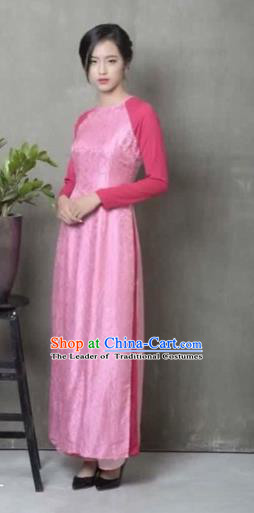 Traditional Top Grade Asian Vietnamese Costumes Dance Dress, Vietnam National Women Ao Dai Dress Pink Cheongsam Clothing
