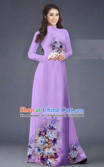 Traditional Top Grade Asian Vietnamese Costumes Dance Dress, Vietnam National Women Ao Dai Dress Printing Flowers Long Purple Cheongsam Clothing