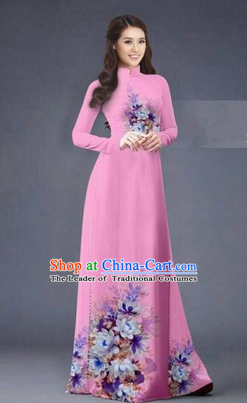 Traditional Top Grade Asian Vietnamese Costumes Dance Dress, Vietnam National Women Ao Dai Dress Printing Flowers Long Rose Cheongsam Clothing