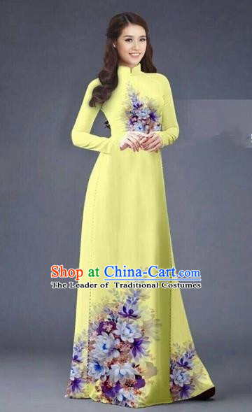 Traditional Top Grade Asian Vietnamese Costumes Dance Dress, Vietnam National Women Ao Dai Dress Printing Flowers Long Yellow Cheongsam Clothing