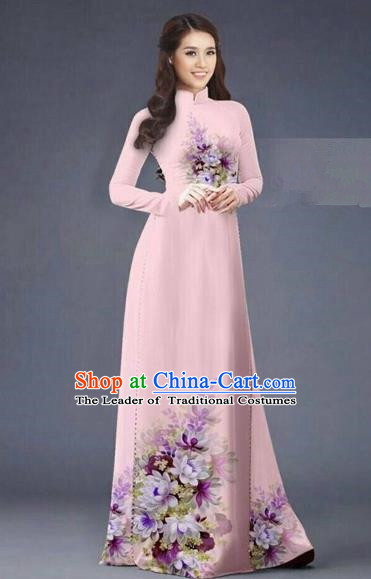 Traditional Top Grade Asian Vietnamese Costumes Dance Dress, Vietnam National Women Ao Dai Dress Printing Flowers Long Pink Cheongsam Clothing