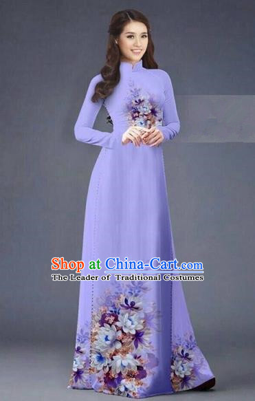 Traditional Top Grade Asian Vietnamese Costumes Dance Dress, Vietnam National Women Ao Dai Dress Printing Flowers Long Light Purple Cheongsam Clothing