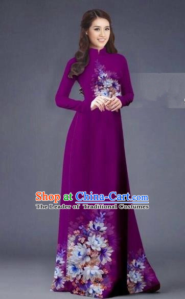 Traditional Top Grade Asian Vietnamese Costumes Dance Dress, Vietnam National Women Ao Dai Dress Printing Flowers Long Wine Red Cheongsam Clothing