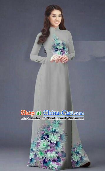 Traditional Top Grade Asian Vietnamese Costumes Dance Dress, Vietnam National Women Ao Dai Dress Printing Flowers Long Grey Cheongsam Clothing