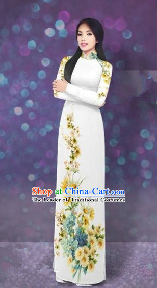 Traditional Top Grade Asian Vietnamese Costumes Dance Dress, Vietnam National Women Ao Dai Dress Printing Daisy Yellow Flowers Long White Cheongsam Clothing