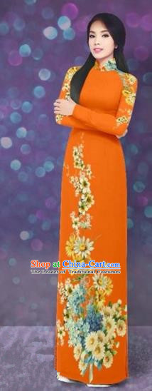 Traditional Top Grade Asian Vietnamese Costumes Dance Dress, Vietnam National Women Ao Dai Dress Printing Daisy Flowers Long Orange Cheongsam Clothing