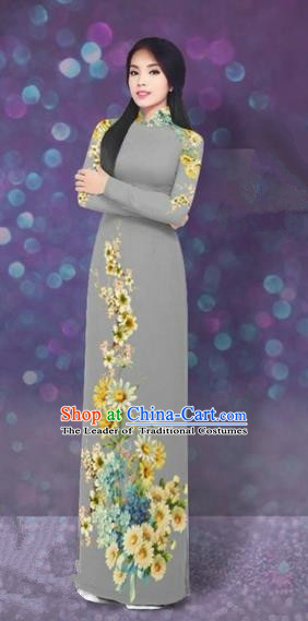 Traditional Top Grade Asian Vietnamese Costumes Dance Dress, Vietnam National Women Ao Dai Dress Printing Daisy Flowers Long Grey Cheongsam Clothing