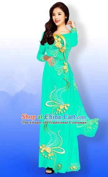 Traditional Top Grade Asian Vietnamese Costumes Dance Dress and Loose Pants, Vietnam National Women Ao Dai Dress Printing Long Bright Green Cheongsam Clothing Complete Set