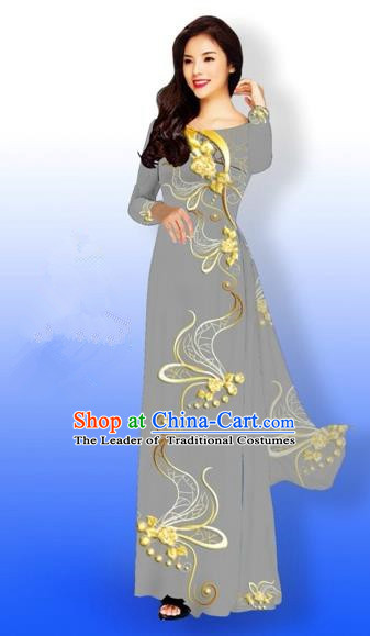 Traditional Top Grade Asian Vietnamese Costumes Dance Dress and Loose Pants, Vietnam National Women Ao Dai Dress Printing Long Grey Cheongsam Clothing Complete Set