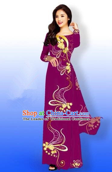 Traditional Top Grade Asian Vietnamese Costumes Dance Dress and Loose Pants, Vietnam National Women Ao Dai Dress Printing Long Amaranth Cheongsam Clothing Complete Set