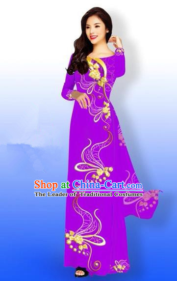 Traditional Top Grade Asian Vietnamese Costumes Dance Dress and Loose Pants, Vietnam National Women Ao Dai Dress Printing Long Purple Cheongsam Clothing Complete Set