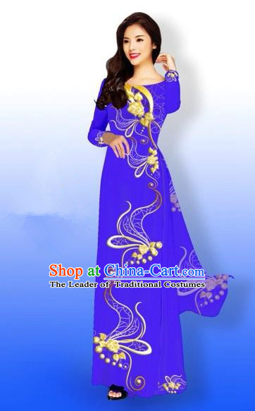 Traditional Top Grade Asian Vietnamese Costumes Dance Dress and Loose Pants, Vietnam National Women Ao Dai Dress Printing Long Blue Purple Cheongsam Clothing Complete Set